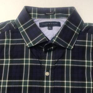 TOMMY HILFIGER Mens XL Blue Plaid Oxford Shirt